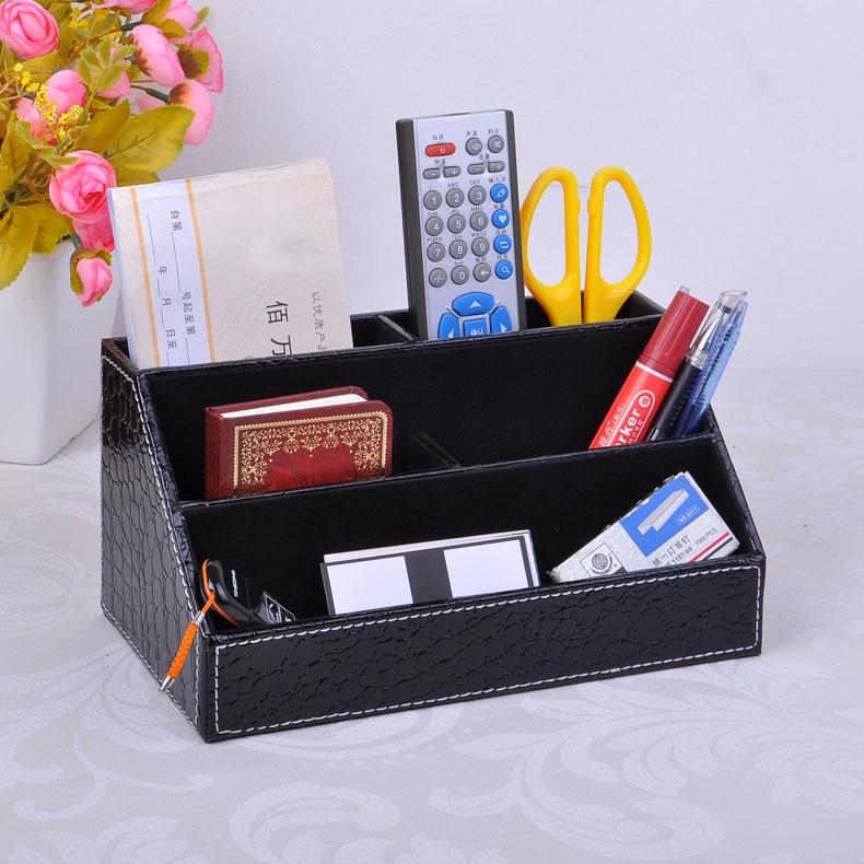home office 5-slot wood leather desktop stationery pen pencil holder organizer store box case office accessories croco black203C