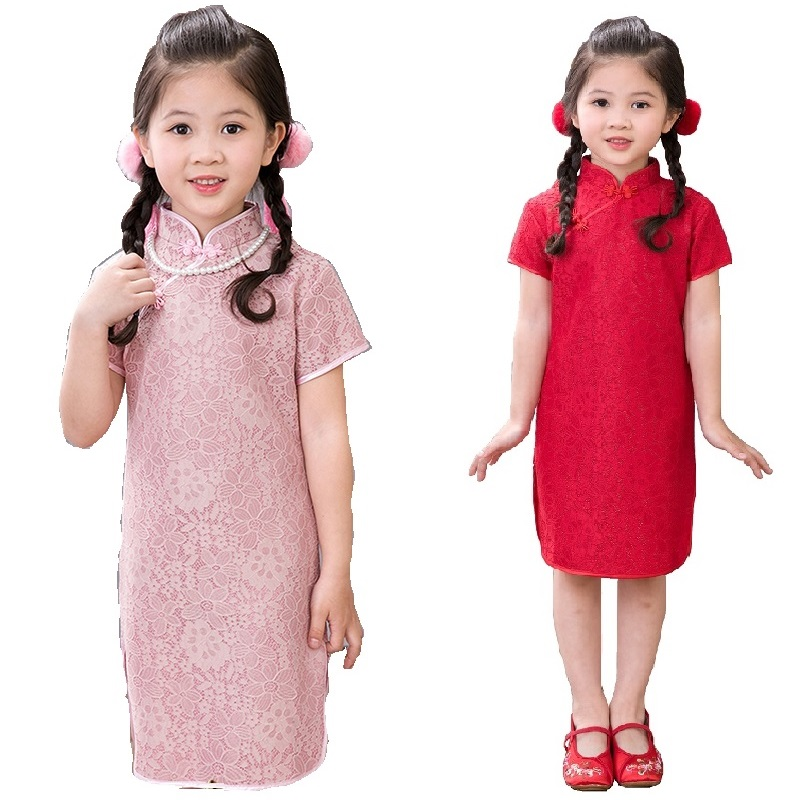 2018 Flower Baby Girls Dress Tribute Silk Kid Hollow Traditional Qipao Children Cheongsam Girl Dresses Clothes Vestidos Red Pink girl