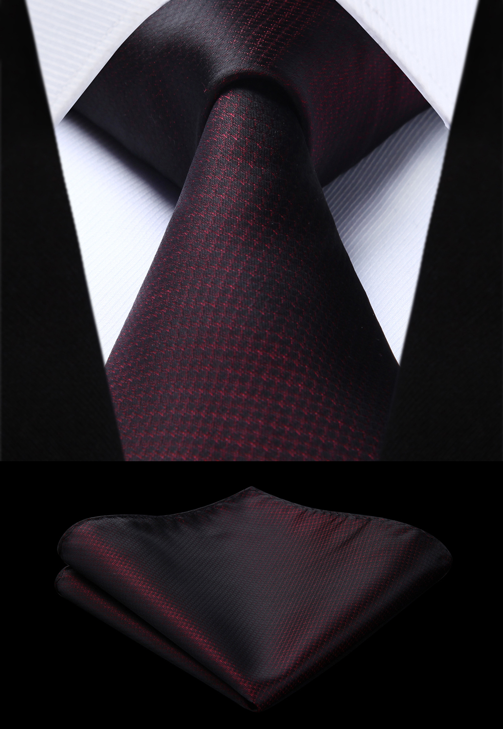 Party Wedding Classic Fashion Pocket Square Tie Woven Men Burgundy Tie Geometric Necktie Handkerchief Set#TG807U8S