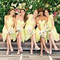 Amarelo Chiffon Vestidos dama de honra A linha 2015 Hot venda de alças meninas Vestidos de festa Vestidos de baile Vestidos