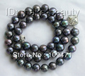 stunning big 10mm round black freshwater pearl necklace 9K clasp