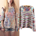 AliExpress women's European and American women sweater gradient hedging round neck sweater autumn and winter color rainbow slit