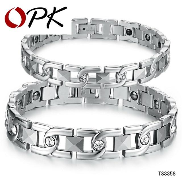 OPK Chain & Link Lovers' Bracelet Anti-Fatigue Energy Balance Women Men Bracelets 316L Stainless Steel Healthy Jewelry GS3358