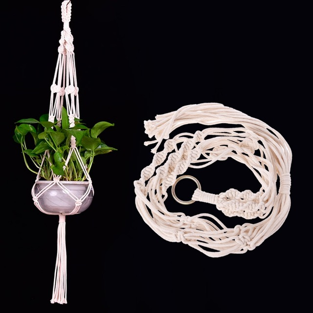 Handcrafted Braided White Macrame Plant Hanger Pot Holders Hanging Basket Garden Home Decoration Flower Plant Display