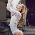 Sexy Women Summer Lace Bodysuit 2017 New V Neck Lace Up Long Sleeve Crochet See Through Playsuits Club Party Overalls Rompers