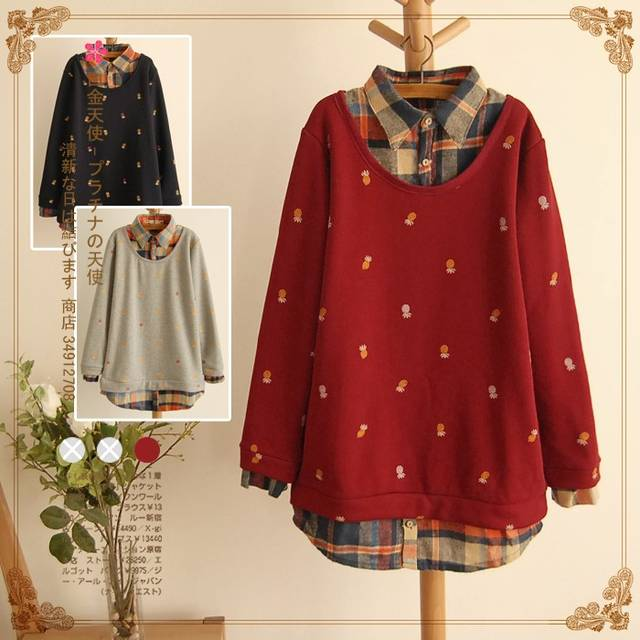 Mori Girl Loose Plus Size Fake Two Pieces T-shirts Long Sleeve Plaid Peter Pan Collar Tops XXXXL Preppy Style Shirt