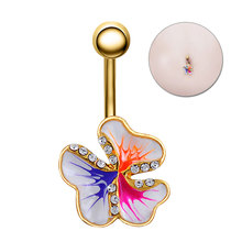 New Septum Belly Piercing Umbilical Ring Fashion Oil Fresh Flower Nail Medical Anti-allergic Navel Button Needle M722
