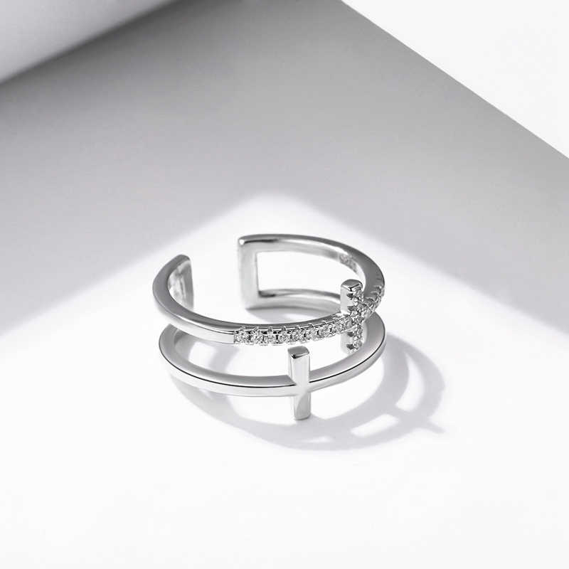 SODROV JÓIAS 925 Anéis De Prata Esterlina Mulheres Clássico Rodada Completa Pave AAA Cubic Zircon Anel de Noivado Wedding Band para Meninas