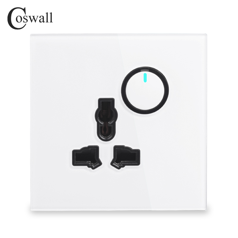 Coswall Crystal Glass Panel Wall Universal Power Socket Outlet + 1 Gang 2 Way Pass Through Light Switch Switched LED Indicator