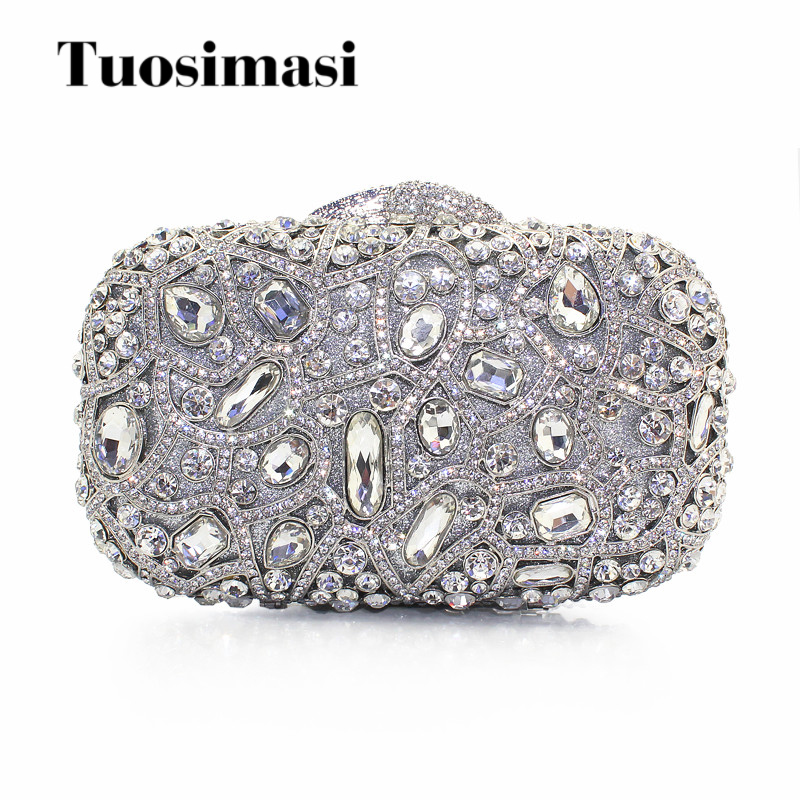 Fashion Crystal Women Evening Bag With Stone Silver Clutch Bag For Elegant Ladies Banquet Handbag Silver Classic Party Purse  Fashion Crystal Women Evening Bag With Stone Silver Clutch Bag For Elegant Ladies Banquet Handbag Silver Classic Party Purse