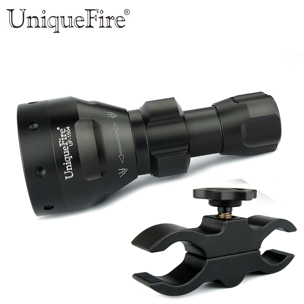 Hunting Light Uniquefire 1504 Zoomable 940nm IR LED Flashlight 67mm Convex Lens Torch+Scope Mount  3 Modes Light  For Outdoor uniquefire t20 upgraded zoomable led flashlight ir 940nm 3 mode lamp light torch with scope mount waterproof for hunting camping