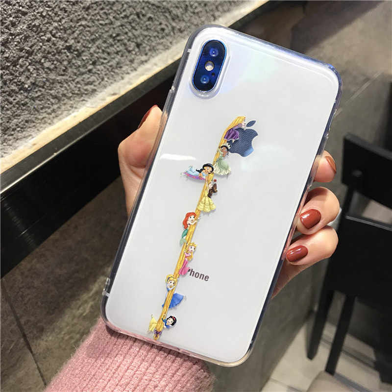 Grappige Sneeuw Wit Cinderella Rapunzel Mermaid Clear Soft Tpu Case Voor Iphone 11 Pro Xs Max Xr X 6S 7 8 Plus Leuke Cover Case