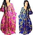 Adogirl 2017 Осенняя Мода Традиционных Африканских Одежды Sexy Длинным Рукавом Платья Печати V-образным Вырезом Макси Платье Сексуальные Женщины Длинное Платье