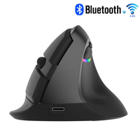 Delux M618 Mini Mouse Wireless 2.4Ghz + Bluetooth 4.0 Rechargeable 2400 DPI RGB Vertical Mouse Ergonomic Mice For PC Laptop