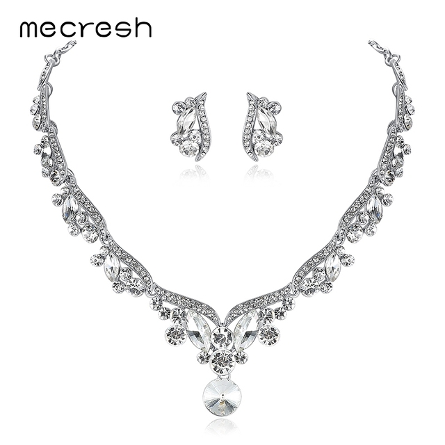 Mecresh Rhinestone Crystal Bridal Jewelry Sets Necklaces Sets African Beads Jewelry Sets Wedding Engagement Jewelry TL201