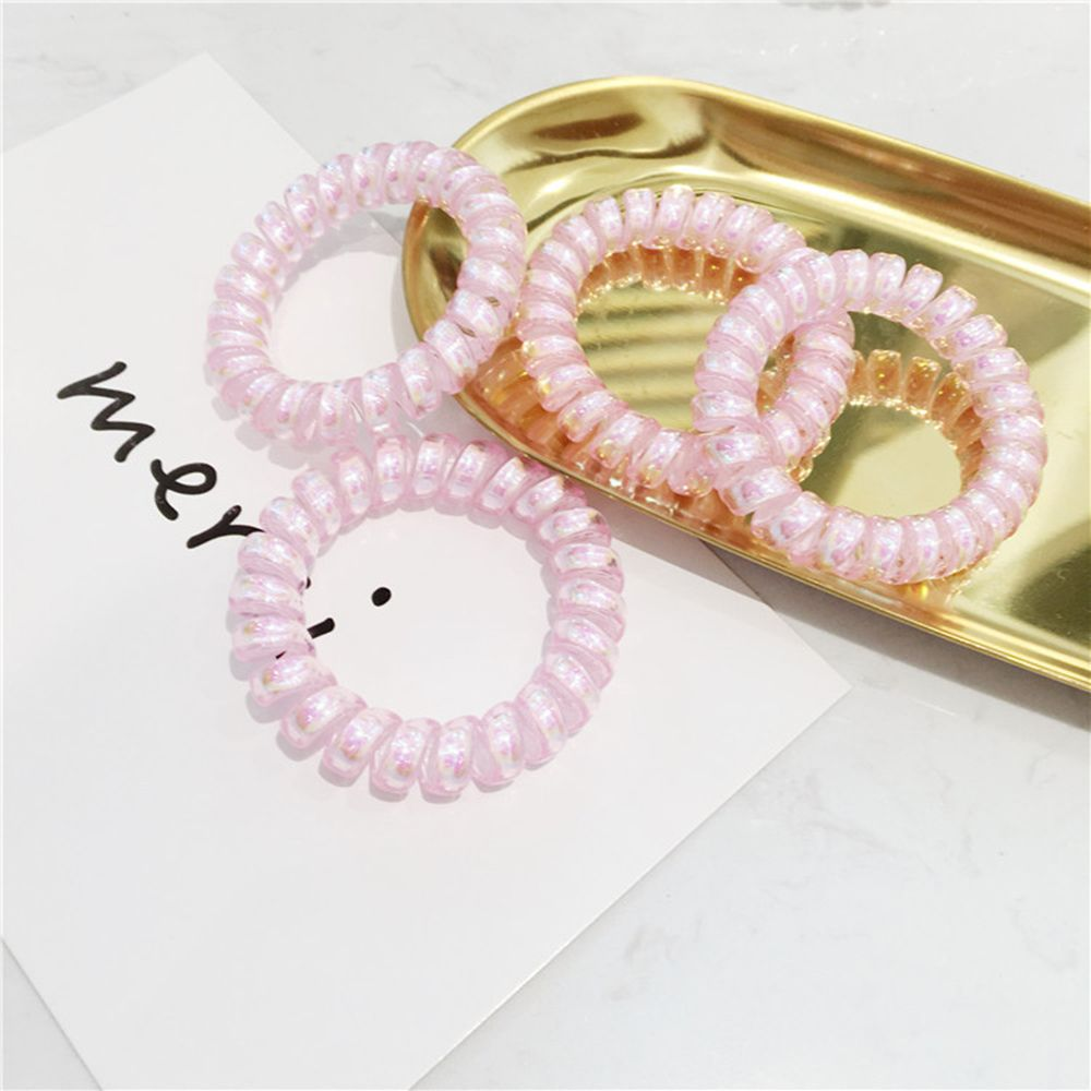 2 Pcs Bright Shining Telephone Line Wire Elastic Hair Bands Tie Gum Headwear Ponytail Holder Rubber Bands Women Hair Accessories