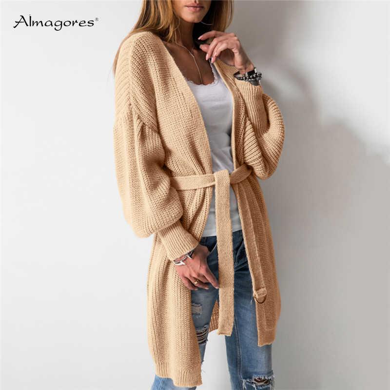 Модные женские туфли Свободные толстый кардиганы v образным вырезом свитер