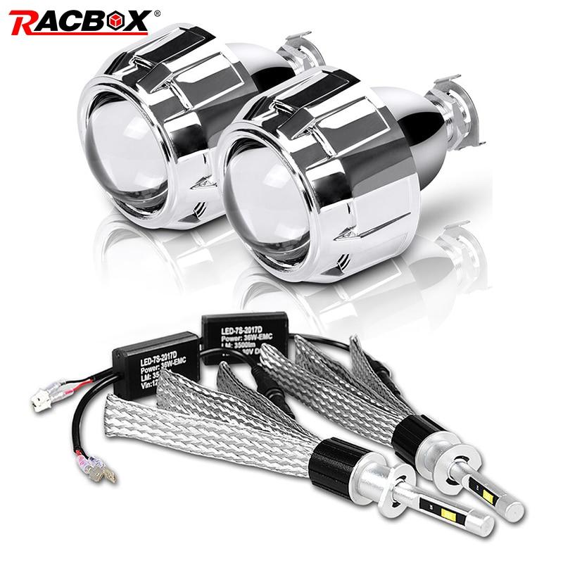 H1 LED żarówka 2.5 cal Mini projektor LED Len wysoka martwa wiązka Fit H4 H7 gniazdo wtykowe H1 HID dla samochodów motocykl reflektor samochodowy