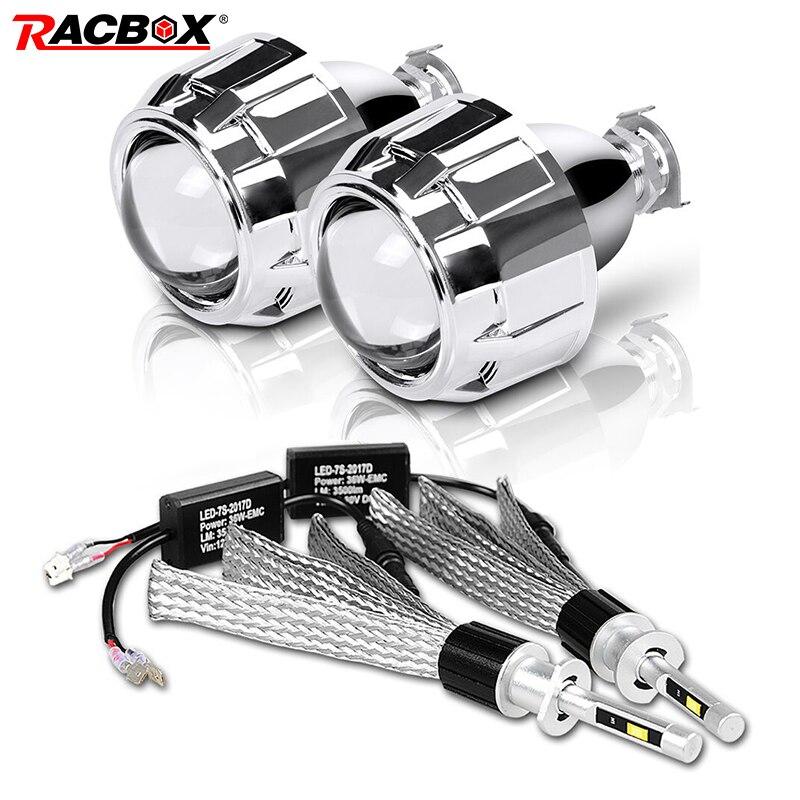 H1 bombilla LED 2,5 pulgadas Mini proyector LED Len ajuste alto bajo H4 H7 enchufe H1 HID para coche motocicleta faro del automóvil