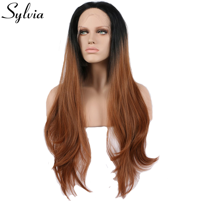Sylvia Black to Brown Two Tone Ombre Synthetic Lace Front Wigs Brown Natural Straight Heat Resistant
