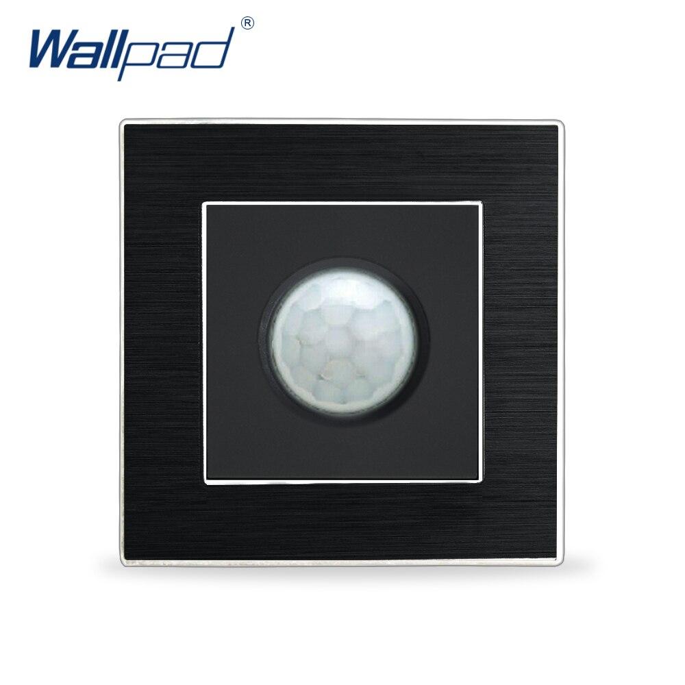 Interrupteur en panneau en métal satiné, détecteurs de mouvement à nouveauté, capteur infrarouge naturel humain, Interrupteur de panneau en métal satiné, Interrupteur d'éclairage mural pour escalier