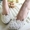 Tamanho grande 44 Venda Quente Handmade Lace Branco Pérolas Sapatos Whie Dama de honra Sapatos de Casamento Das Mulheres As Mulheres Se Vestem Sapatos