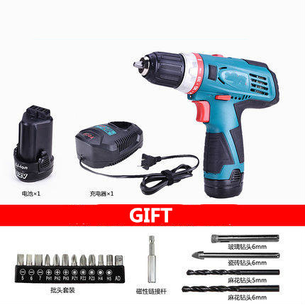 12v Mobile Electric Drill Power Tools Electric Screwdriver Lithium Battery Cordless Drill Mini Drill Hand Tools(with Box&dills) 3 pin computer pc case cooling cooler fan 8 x 8cm