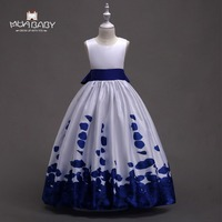 Muababy Flower Girl S Clothing Children S Ball Gown Kids Baby Bow Petal Printed Party Dresses