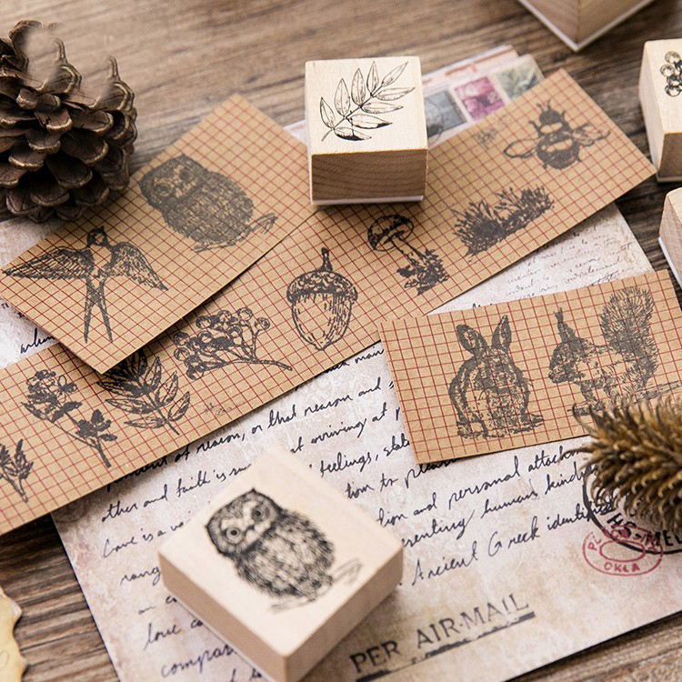 Hot Selling Wooden Stamp Forest Log Rubber Hand Book Album Diary Decoration DIY 12 Models For Card Making Cartoon Handmade