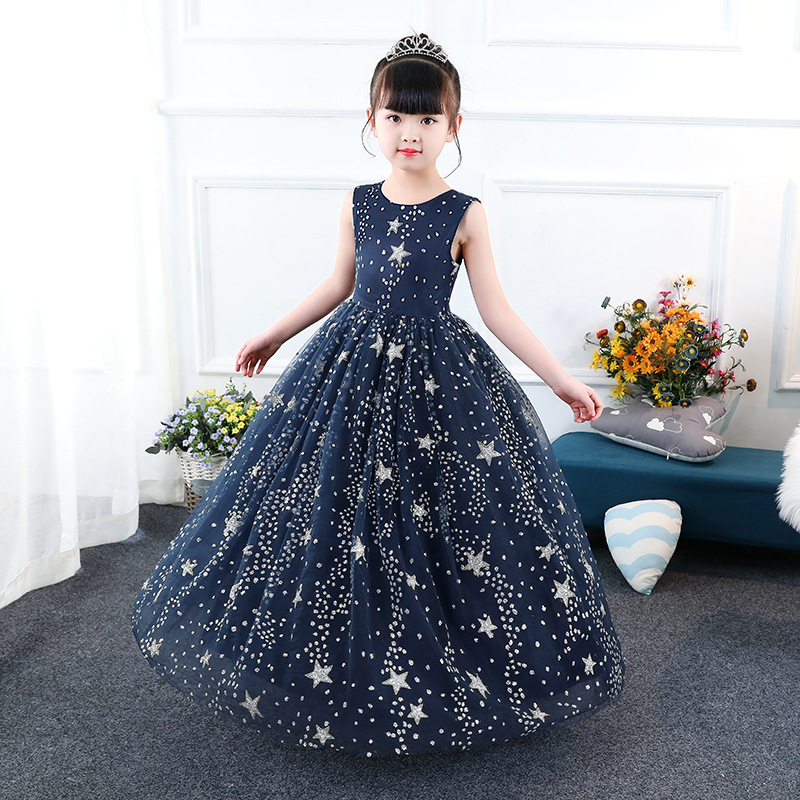 ea1eac92da00 Glittery Children Pageant Ball Gown Starry Sky Printed Kids Navy ...