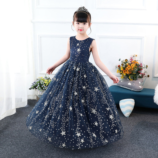 Glittery Children Pageant Ball Gown Starry Sky Printed Kids Navy Blue Dress Weddings Evening For