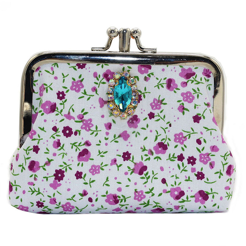 Women Fashion Rhinestone Floral Printed Small Wallet Card Holder Coin Purse Ladies Clutch Money Change Bag HASP Purses casual weaving design card holder handbag hasp wallet for women