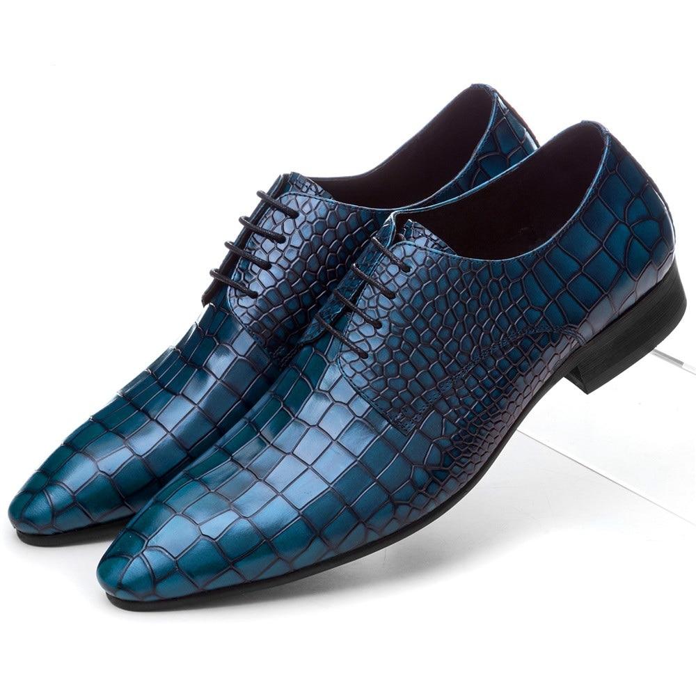 Serpentin Kék / Fekete / Barna Tan Prom cipő Férfi esküvői cipő Valódi bőr üzleti cipő férfi ruha cipő