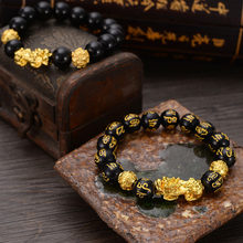Natural Stone Black Obsidian Beaded Bracelet with Golden Pixiu Charms Pendant for Men Buddhist Jewelry LXH(China)