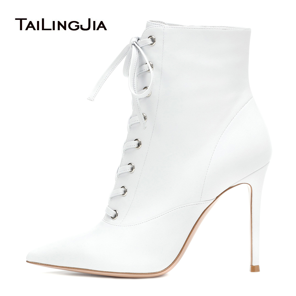 Women Pointy Toe High Heel White Ankle Boots Lace Up and Zipper Heeled Black Booties Ladies Winter Stiletto Heel Shoes 2018 flower embroidery bridal winter chinese lace up women ankle boots medium heel embroidered red satin wedding booties stiletto