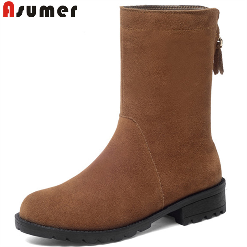 7f35ef55161 ASUMER 2018 fashion autumn winter new shoes woman round toe suede ...