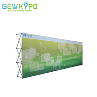 17ft High Quality Straight Stretch Fabric Trade Show Pop Up Display Wall With Single Side Banner Printing