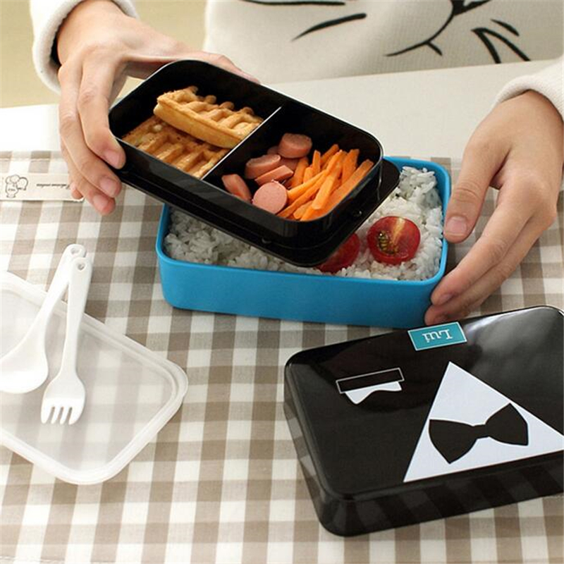 2016 new 1 pcs 2 tier plastic bento lunch box kids cute food container lunchbox microwave in. Black Bedroom Furniture Sets. Home Design Ideas