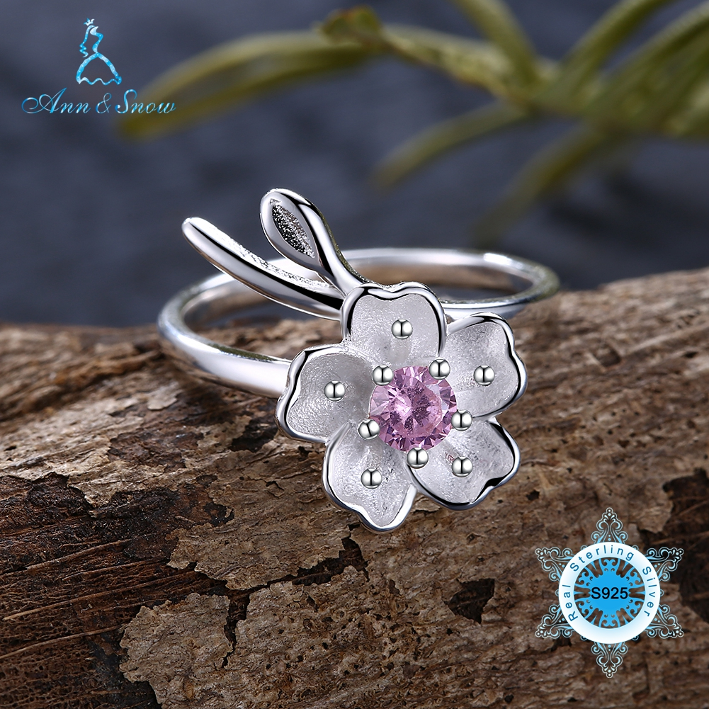 Ann & Snow Real 925 Sterling Silver Natural Chalcedony Handmade Fine Jewelry Flower Ring Lotus Whispers Rings for Women Bijoux