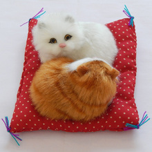 cute small simulation mat cat toy polyethylene & furs white&yellow cat model gift about 13x12cm