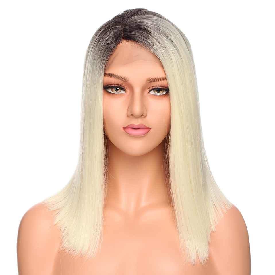S-noilite BOB Ombre Synthetic Lace Front Wigs Straight Middle Parting Blunt Wigs Heat Resistant Hair Replacement Wig For Women