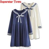 Women Dress Sailor Collar Long Sleeve Japanese School Dress Cute Harajuku Mori Girl School Clothes Vestidos