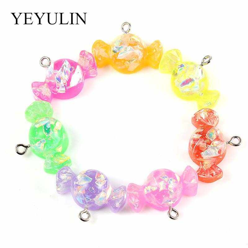 New Fashion Mixt-color Candy Shape Resin Charms Pendant Making DIY Necklace Bracelet Keychain Women Gift Jewelry Wholesale 10pcs