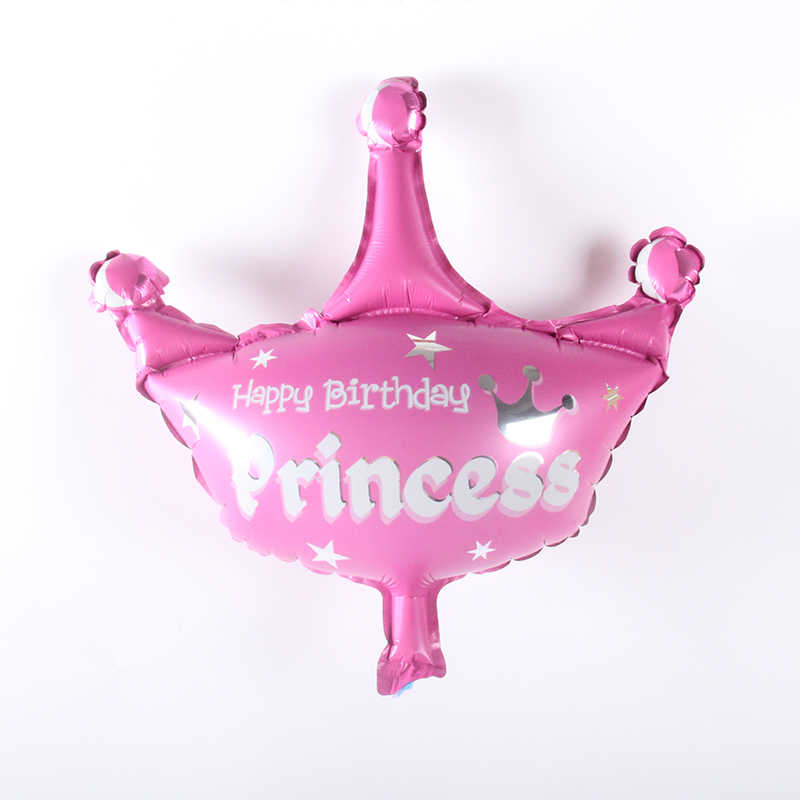 Mini Happy Birthday Princess Crown Aluminm Foil Balloons kids Happy birthday party decoration baby shower Celebration Supplies
