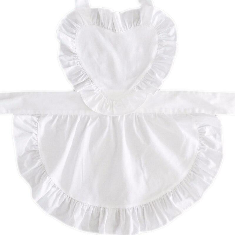 Sweetheart feminino plain algodão branco plissado garçonete cosplay avental de cozinha divertido tablier cozinha pinafore curto avental