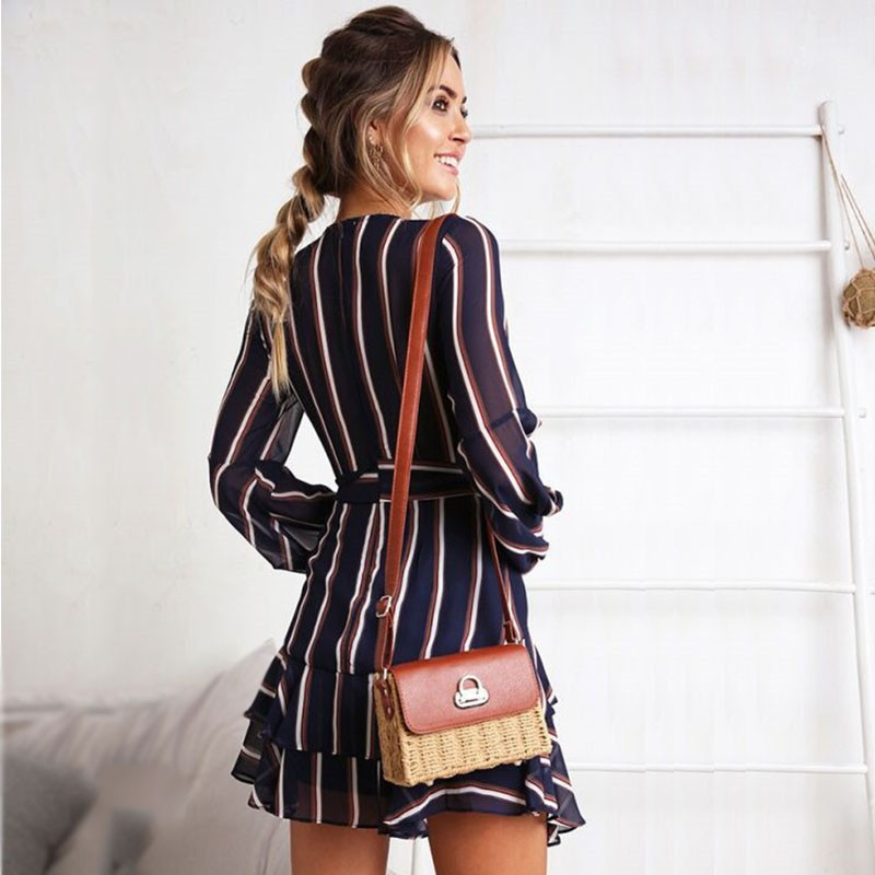 Women V Neck Lace Up Ruffles Striped Mini Dress Long Sleeve