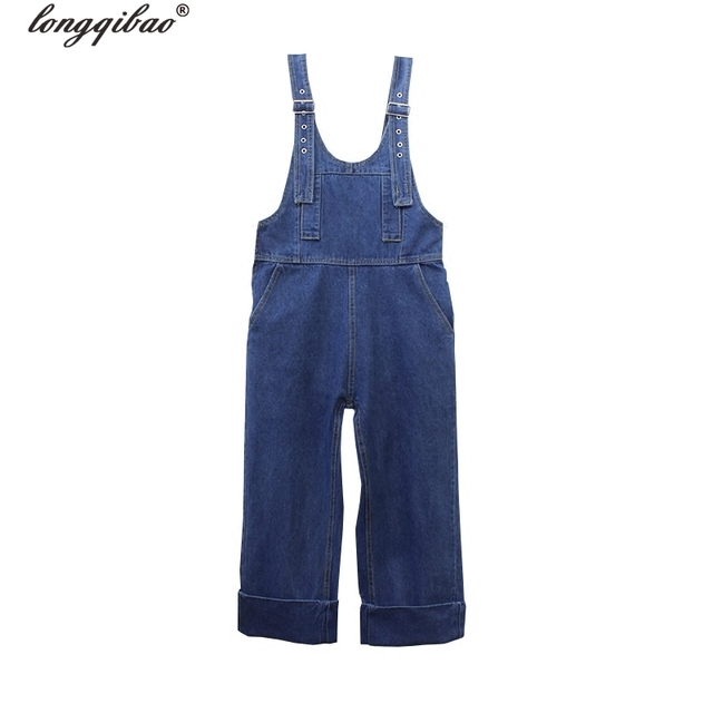 Casual Loose Size Denim Overalls Women Ripped Jean Jumpsuit