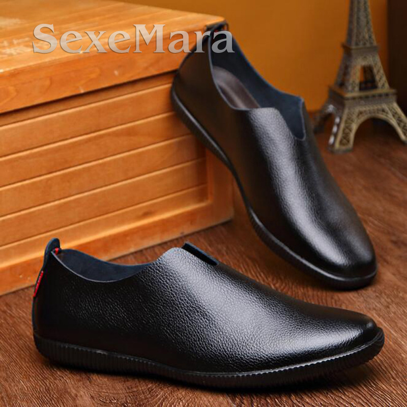 2017 New Mens Shoes Casual Fashion Men Loafers Breathable Cow Leather Men Flats Slip On Shoes Moccasins Yellow/Brown/Black shoes 2017 autumn fashion men pu shoes slip on black shoes casual loafers mens moccasins soft shoes male walking flats pu footwear