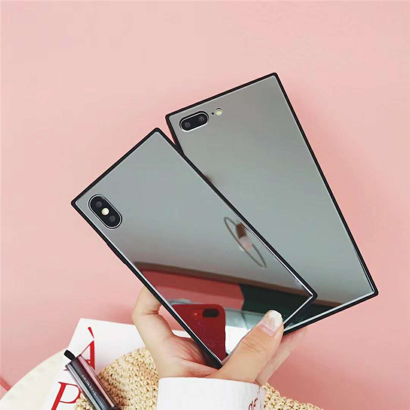 Luxury Glossy Mirror Square Cases Tempered Glass & TPU Protective Phone Covers For iPhone X 6 6s Plus 7 8 Plus Coque Capa Fundas
