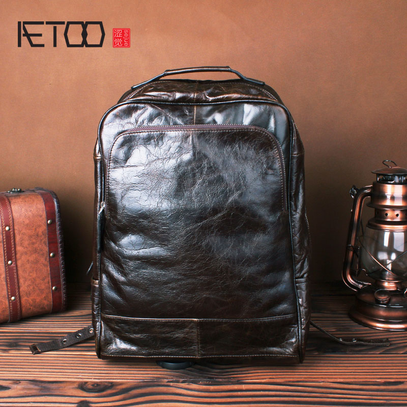 AETOO Leather shoulder bag leather men bag retro leisure simple computer bag oil wax skin travel backpack aetoo the new oil wax cow leather bags real leather bag fashion in europe and america big capacity of the bag